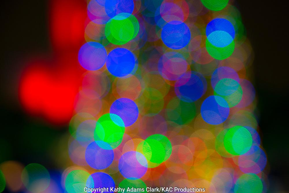 Bokeh, blurred shapes, multi-color, Christmas lights.