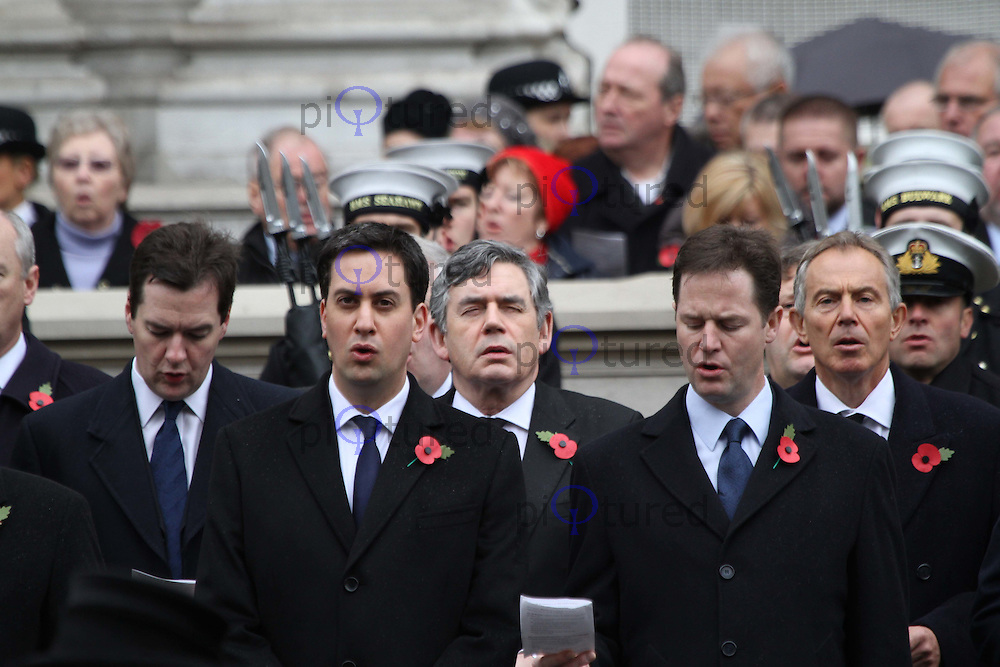 Chancellor of the Exchequer George Osborne; Gordon Brown; Tony Blair; Ed Miliband Leader Labour; Nick Clegg Leader Liberal Democrats Remembrance Sunday - Cenotaph Service, Whitehall, London, UK, 14 November 2010:  Contact: Ian@Piqtured.com +44(0)791 626 2580 (Picture by Richard Goldschmidt)