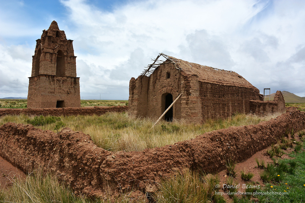 Old adobe church on the altiplano, near La Paz, Bolivia