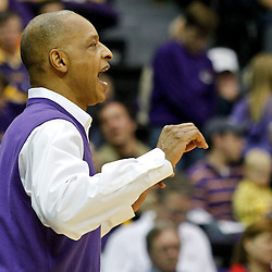 January 2, 2012; Baton Rouge, LA; LSU Tigers head coach Trent Johnson during the first half of a game against the Virginia Cavaliers at the Pete Maravich Assembly Center.  Mandatory Credit: Derick E. Hingle-US PRESSWIRE