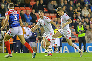 Elliott Whitehead (centre) and Richie Myler (right) of England and Bastien Ader of France during the International Friendly match at Leigh Sports Village, Leigh<br /> Picture by Steve McCormick/Focus Images Ltd 07545 862647<br /> 17/10/2018