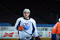 PENTICTON, CANADA - SEPTEMBER 9: Tyler Benson #49 of Edmonton Oilers stands on the ice during morning skate on September 9, 2017 at the South Okanagan Event Centre in Penticton, British Columbia, Canada.  (Photo by Marissa Baecker/Shoot the Breeze)  *** Local Caption ***