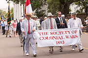 Members of the Society of Colonial Wars march down Meeting Street to celebrate Carolina Day June 28, 2014 in Charleston, SC. Carolina Day celebrates the 238th anniversary of the American victory at the Battle of Sullivan's Island over the Royal Navy and the British Army.