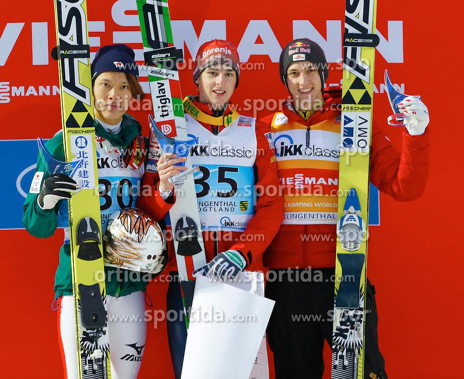 13.02.2013, Vogtland Arena, Kingenthal, GER, FIS Ski Sprung Weltcup, im Bild Die drei Erstplazierten, von links: Taku Takeuchi, Japan, Jaka Hvala, Slowenien und Gregor Schlierenzauer, (AUT) // during the FIS Skijumping Worldcup at the Vogtland Arena, Kingenthal, Germany on 2013/02/13. EXPA Pictures © 2013, PhotoCredit: EXPA/ Eibner/ Ingo Jensen..***** ATTENTION - OUT OF GER *****