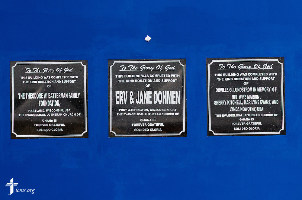 Plaques adorn the building wall at the service and dedication of the Lutheran Theological Seminary of the Evangelical Lutheran Church of Ghana on Sunday, Feb. 2, 2014, in Greater Accra, Ghana. LCMS Communications/Erik M. Lunsford