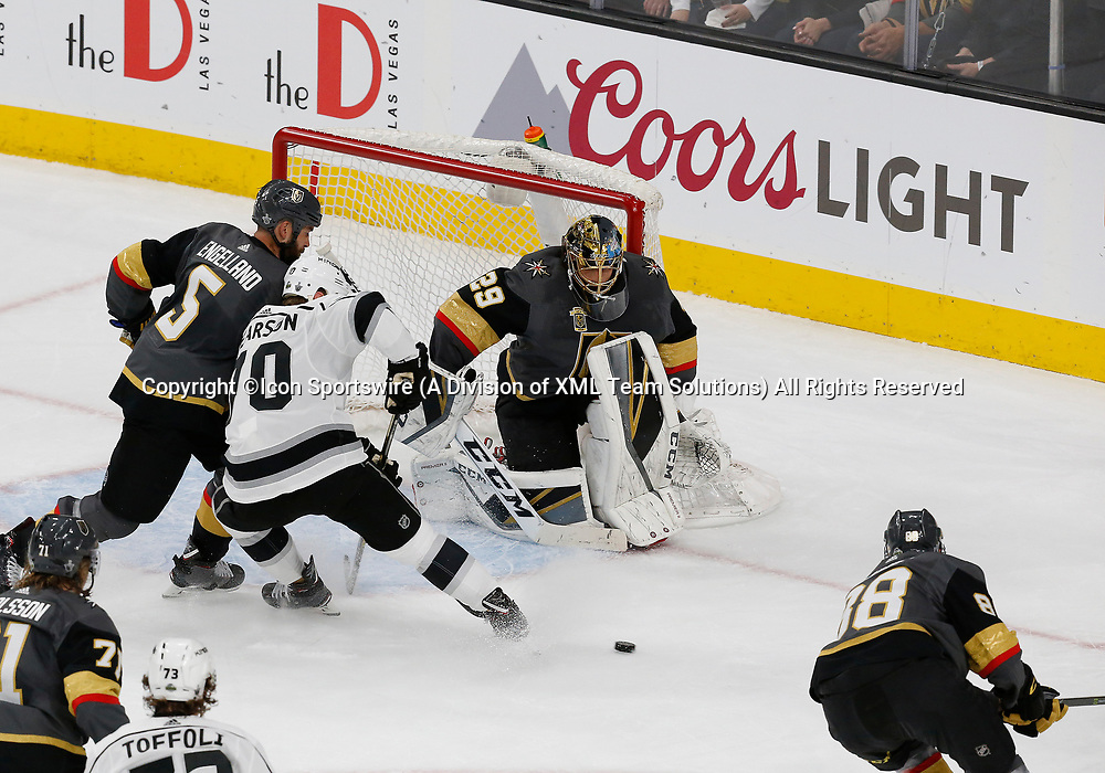 LAS VEGAS, NV - APRIL 11: Vegas Golden Knights goaltender Marc-Andre Fleury (29) guards the goal during Game One of the Western Conference First Round of the 2018 NHL Stanley Cup Playoffs between the L.A. Kings and the Vegas Golden Knights Wednesday, April 11, 2018, at T-Mobile Arena in Las Vegas, Nevada. The Golden Knights won 1-0.  (Photo by: Marc Sanchez/Icon Sportswire)