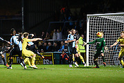 Wycombe midfielder Garry Thompson scores Wycombe's first goal  during the Sky Bet League 2 match between Wycombe Wanderers and Oxford United at Adams Park, High Wycombe, England on 19 December 2015. Photo by David Charbit.