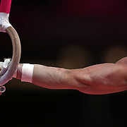 Jonathan Horton, USA, performing on the rings during the Men's Artistic Gymnastics podium training at North Greenwich Arena during the London 2012 Olympic games preparation at the London Olympics. London, UK. 25th July 2012. Photo Tim Clayton