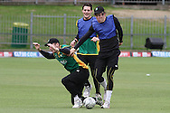 Seth Rance of the Central Stags if fouled by George Worker of the Central Stags Mitchell McClenaghan of the Central Stags looks on during the Central Stags training session held at St Georges Park in Port Elizabeth on the 20 September 2010..Photo by: Shaun Roy/SPORTZPICS/CLT20