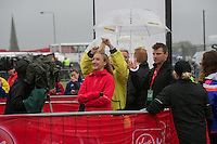 Paula Radcliffe photographed getting her hair sorted just before doing an interview at the celebrity start of the Virgin Money London Marathon 2015, Sunday 26th April 2015<br />