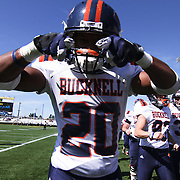 Bucknell Cornerback Ryan Morgan (20) point to the camera prior to a Week 3 NCAA football game against  Delaware University...#13 Delaware defeated The Bison of Bucknell 19 - 3 at Delaware Stadium Saturday Sept. 15, 2012 in Newark Delaware.