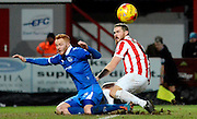 Ryan Taylor misses a chance during the Sky Bet League 2 match between Cheltenham Town and Portsmouth at Whaddon Road, Cheltenham, England on 20 December 2014. Photo by Alan Franklin.