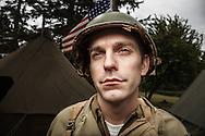 USA, Oregon, Astoria, Ft. Stevens State Park, Sentry, WWII living history encapment. MR
