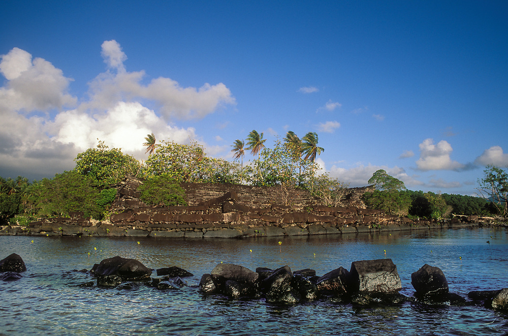 Nan Douwas, the main structure at Nan Madol, an ancient social, political and religious center constructed of basalt logs on the island of Pohnpei in Micronesia.