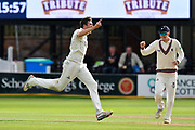Wicket - Craig Overton of Somerset celebrates taking the wicket of Steven Croft of Lancashire during the Specsavers County Champ Div 1 match between Somerset County Cricket Club and Lancashire County Cricket Club at the Cooper Associates County Ground, Taunton, United Kingdom on 13 September 2017. Photo by Graham Hunt.