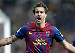 10.12.2011, Santiago Bernabeu Stadion, Madrid, ESP, Primera Division, Real Madrid vs FC Barcelona, 15. Spieltag, im Bild Barcelona's Cesc Fabregas celebrates // during the football match of spanish 'primera divison' league, 15th round, between Real Madrid and FC Barcelona at Santiago Bernabeu stadium, Madrid, Spain on 2011/12/10. EXPA Pictures © 2011, PhotoCredit: EXPA/ Alterphotos/ Alvaro Hernandez..***** ATTENTION - OUT OF ESP and SUI *****