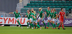 NEWPORT, WALES - Tuesday, September 3, 2019: Northern Ireland's Simone Magill (#9) celebrates scoring the first goal during the UEFA Women Euro 2021 Qualifying Group C match between Wales and Northern Ireland at Rodney Parade. (Pic by David Rawcliffe/Propaganda)