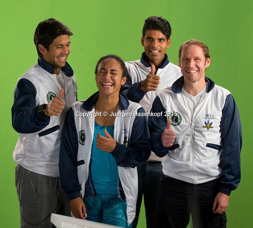Fernando Verdasco , Heather Watson, Vishnu Vardhan und Rainer Schuettler im Studio fuer ein Promo Video,<br /> <br /> Tennis - Champions Tennis League 2015 -  -   - Chennai - Tamil Nadu - India  - 25 November 2015. <br /> &copy; Juergen Hasenkopf