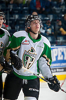 KELOWNA, CANADA - DECEMBER 6: Simon Stransky #23 of Prince Albert Raiders skates during warm up against the Kelowna Rockets on December 6, 2014 at Prospera Place in Kelowna, British Columbia, Canada.  (Photo by Marissa Baecker/Shoot the Breeze)  *** Local Caption *** Simon Stransky;