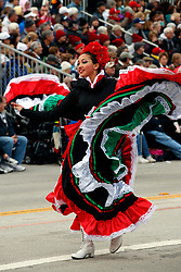 Mexican traditional dancer on the route of the 2017 Tournament of Roses Parade, Rose Parade, Pasadena, California, United States of America