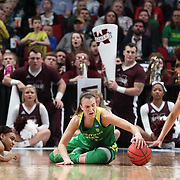 March 31, 2019; Portland, OR, USA;  Oregon Ducks guard Sabrina Ionescu (20) scrambles for a loose ball against the Mississippi State Bulldogs in the Elite Eight of the NCAA Women's Tournament at Moda Center.<br /> Photo by Jaime Valdez