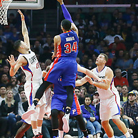 07 November 2016: Detroit Pistons forward Tobias Harris (34) goes for the jump shot over Los Angeles Clippers guard Austin Rivers (25) during the LA Clippers 114-82 victory over the Detroit Pistons, at the Staples Center, Los Angeles, California, USA.