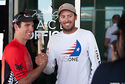 Phil Robertson and Taylor Canfield shake hands before the final of the 2012 Monsoon Cup. Kuala Terengganu, Malaysia. 8 December 2012. Photo: Subzero Images/Monsoon Cup