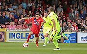 Reece Thompson during the Sky Bet League 2 match between York City and Hartlepool United at Bootham Crescent, York, England on 15 August 2015. Photo by Simon Davies.