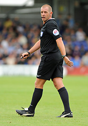 Referee Darren Handley - photo mandatory by-line David Purday JMP- Tel: Mobile 07966 386802 - 30/08/14 - Afc Wimbledon v Stevenage - SPORT - FOOTBALL - Sky Bet Leauge 2 - London - The Cherry Red Stadium