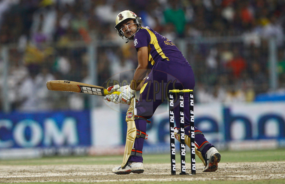 Kolkatta Knight Riders player Debabrata Das play a shot during match 63 of the the Indian Premier League ( IPL) 2012  between The Kolkata Knight Riders and The Chennai Superkings held at the Eden Gardens Stadium in Kolkata on the 14th May 2012..Photo by Pankaj Nangia/IPL/SPORTZPICS