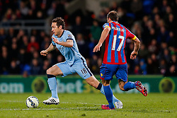 Frank Lampard of Manchester City is challenged by Glenn Murray of Crystal Palace - Photo mandatory by-line: Rogan Thomson/JMP - 07966 386802 - 06/04/2015 - SPORT - FOOTBALL - London, England - Selhurst Park - Crystal Palace v Manchester City - Barclays Premier League.