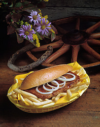 steak sandwich sub hoagy roll onions french fry fries western wagon wheel horse shoe purple flowers yellow napkin basket concept conceptual metaphor Cuisine lifestyle travel Dine Entertaining Entice Enticing Fed Feed Feeding Flavor Flavorful Foodshot Fragrant Haute Gourmet Gourmand Good Gratify Gratifying Grocery Healthfood Hospitable Hospitality Ingredient Lunch Market Munchy Marketplace Natural Organic Portion Pretty Produce Refresh Refreshing Satisfying Satisfaction Seasonal Serve Serving Smell Still life