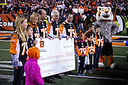 Leah Still (far left), daughter of Cincinnati Bengals defensive tackle Devon Still (75), who was diagnosed with cancer, appears on the field while a donation in the amount of $1,349,582.63 is made to the Cincinnati Children's Hospital Medical Center from jerseys sold as part of the 2014 Devon Still Jersey Program during the NFL week 10 regular season football game against the Cleveland Browns on Thursday, Nov. 6, 2014 in Cincinnati. The Browns won the game 24-3. ©Paul Anthony Spinelli
