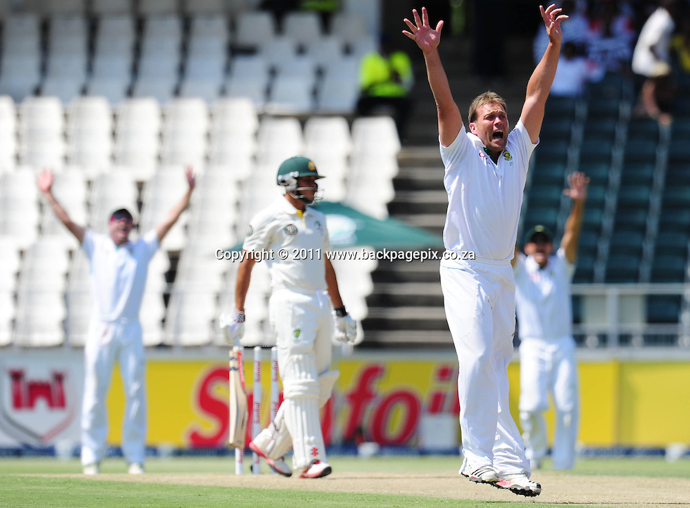 Jacques Kallis of South Africa celebrates the wicket of Shane Watson of Australia <br /> &copy; Barry Aldworth/Backpagepix