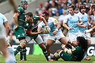 Ben Youngs of Leicester Tigers (second left) clears during the Aviva Premiership match at Welford Road, Leicester<br /> Picture by Andy Kearns/Focus Images Ltd 0781 864 4264<br /> 06/09/2014
