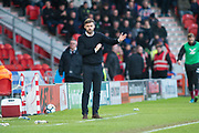 Scunthorpe United manager Graham Alexander during the The FA Cup match between Doncaster Rovers and Scunthorpe United at the Keepmoat Stadium, Doncaster, England on 3 December 2017. Photo by Craig Zadoroznyj.