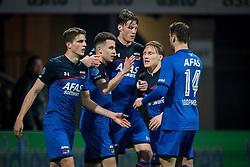 (L-R) Guus Til of AZ, Oussama Idrissi of AZ, Wout Weghorst of AZ, Jonas Svensson of AZ, Teun Koopmeiners of AZ 0-2 during the Dutch Eredivisie match between Heracles Almelo and AZ Alkmaar at Polman stadium on April 13, 2018 in Almelo, The Netherlands
