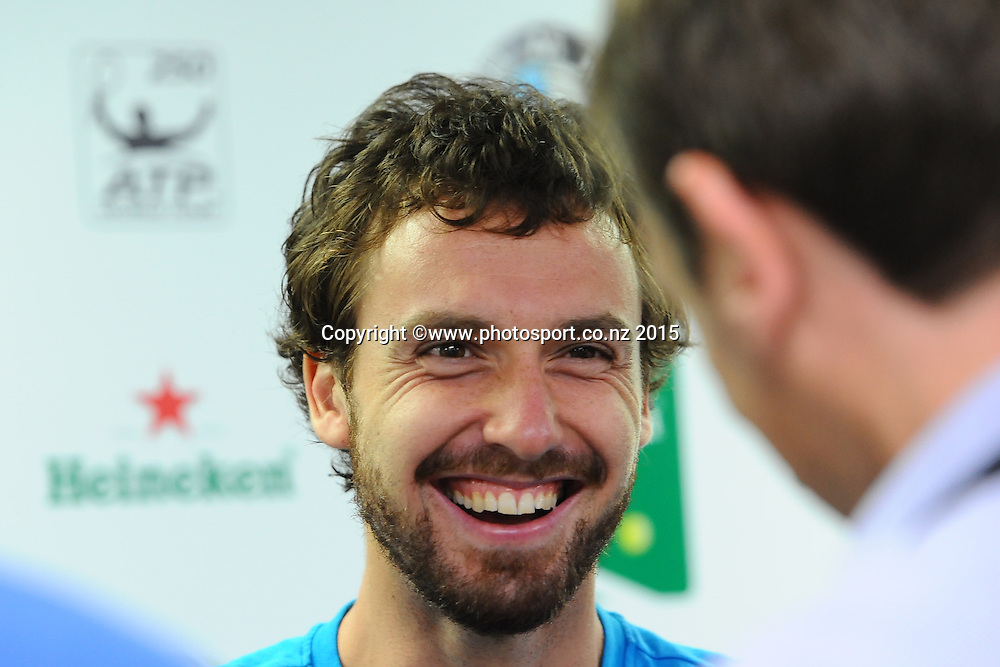 Latvian Ernests Gulbis talks to media ahead of the Heineken Open. ASB Tennis Centre, Auckland, New Zealand. Thursday 8 January 2015. Copyright photo: Chris Symes/www.photosport.co.nz