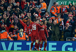 LIVERPOOL, ENGLAND - Tuesday, December 11, 2018: Liverpool's Mohamed Salah celebrates scoring the first goal during the UEFA Champions League Group C match between Liverpool FC and SSC Napoli at Anfield. (Pic by David Rawcliffe/Propaganda)