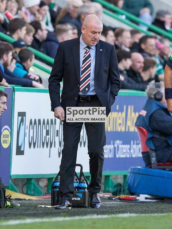 Hibernian FC v Rangers FC <br /> <br /> Mark Warburton (Rangers Manager) during the SPFL Championship match between Hibernian FC and Rangers FC at Easter Road Stadium on Sunday 1 November 2015.<br /> <br /> Picture Alan Rennie.