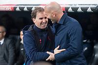 Real Madrid coach Zinedine Zidane and CD Numancia coach Jagoba Arrasate during King's Cup match between Real Madrid and CD Numancia at Santiago Bernabeu Stadium in Madrid, Spain. January 10, 2018. (ALTERPHOTOS/Borja B.Hojas)