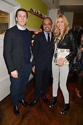 Left to right, MARTIN SEBCIK, DR JOSHI and MELISSA ODABASH at a party to celebrate the publication of 'Honestly Healthy For Life' by Natasha Corrett held at Bumpkin, 209 Westbourne Park Road, London on 26th March 2014.