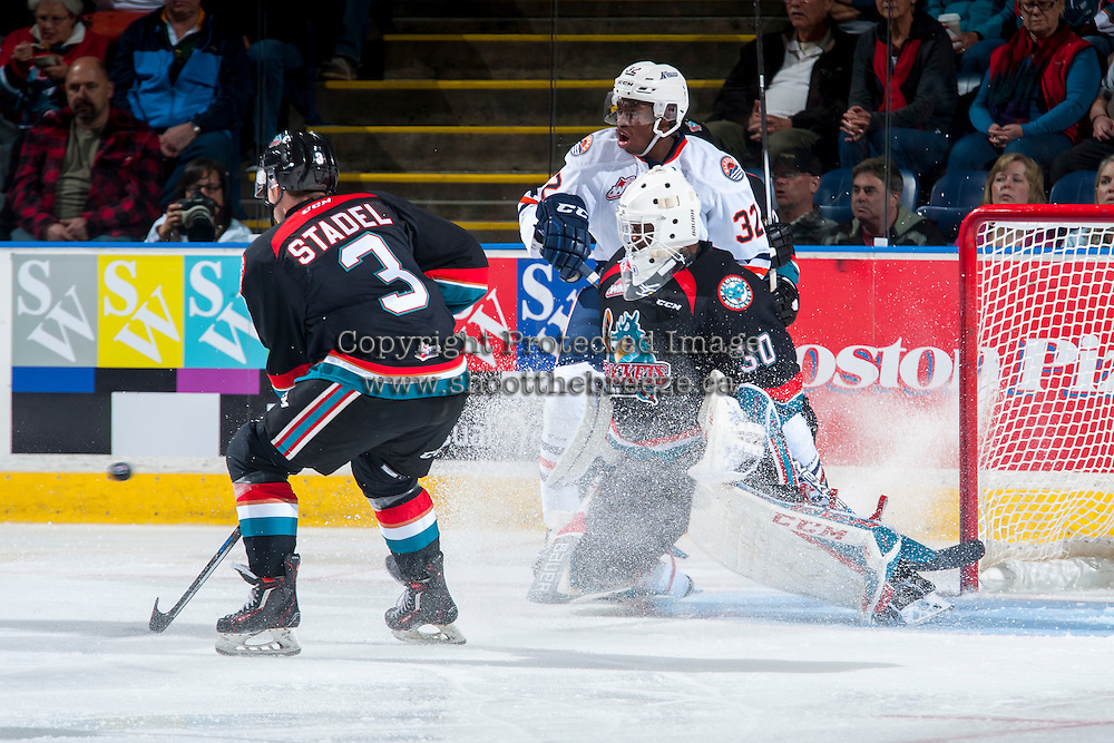 KELOWNA, CANADA - SEPTEMBER 24: Michael Herringer #30 of the Kelowna Rockets deflects a shot against the Kamloops Blazers on September 24, 2016 at Prospera Place in Kelowna, British Columbia, Canada.  (Photo by Marissa Baecker/Shoot the Breeze)  *** Local Caption *** Michael Herringer;