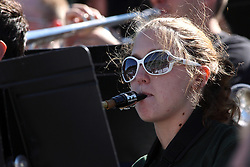 17 September 2011: a saxaphone player during an NCAA Division 3 football game between the Aurora Spartans and the Illinois Wesleyan Titans on Wilder Field inside Tucci Stadium in.Bloomington Illinois.
