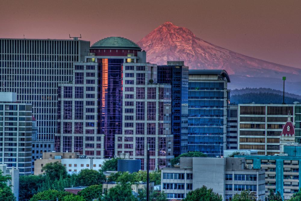 Downtown Portland & Mount Hood @ Sunset