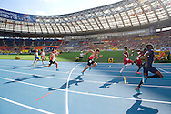 (L) Mike Rodgers and (R) Rakieem Salam both from USA compete in men's relay 4x100 meters qualification during the 14th IAAF World Athletics Championships at the Luzhniki stadium in Moscow on August 18, 2013.<br /> <br /> Russian Federation, Moscow, August 18, 2013<br /> <br /> Picture also available in RAW (NEF) or TIFF format on special request.<br /> <br /> For editorial use only. Any commercial or promotional use requires permission.<br /> <br /> Mandatory credit:<br /> Photo by © Adam Nurkiewicz / Mediasport