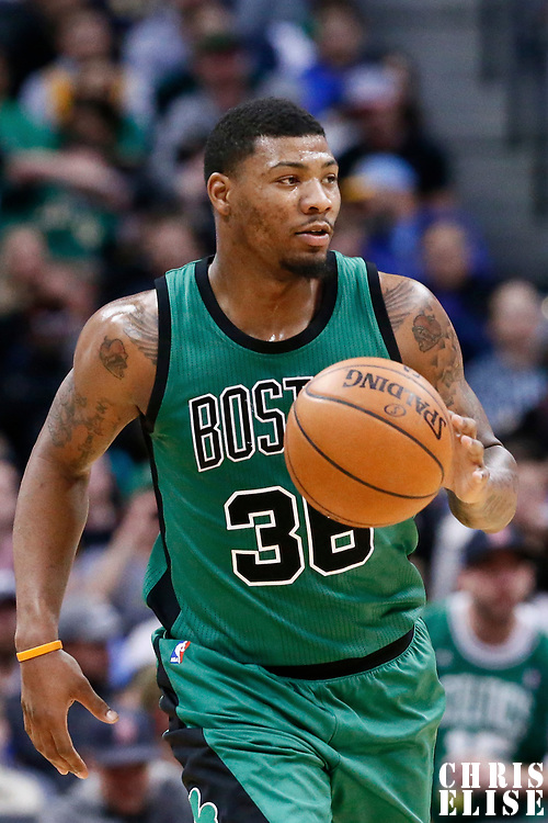 10 March 2017: Boston Celtics guard Marcus Smart (36) brings the ball up court during the Denver Nuggets 119-99 victory over the Boston Celtics, at the Pepsi Center, Denver, Colorado, USA.