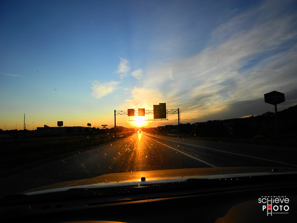 Coming into La Crosse, Wisconsin at sunset.