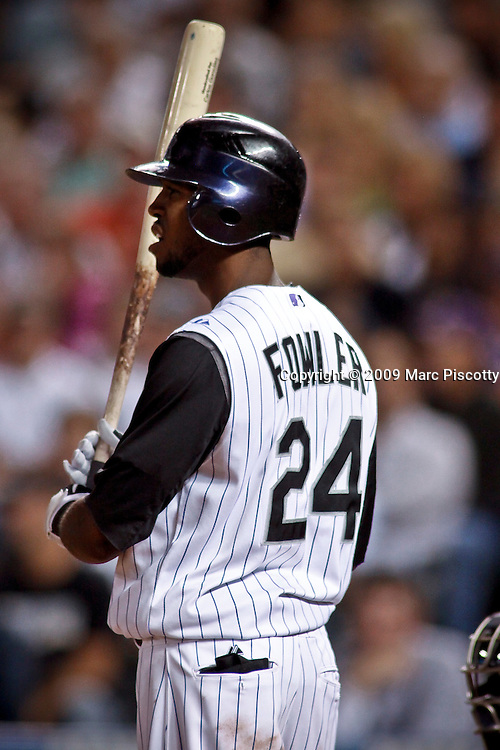 SHOT 9/29/09 8:02:07 PM - Colorado Rockies center fielder Dexter Fowler gets ready to hit against the Milwaukee Brewers at Coors Field in downtown Denver, Co. The Rockies won the game 7-5 in the 11th inning when Rockies' pinch hitter Chris Iannetta hit a walk-off two run game winning home run. The win lifted the Rockies to a three game lead in the race for the NL Wild Card spot over the surging Atlanta Braves. (Photo by Marc Piscotty / © 2009)