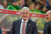 Stoke City Manager Mark Hughes ahead of  the EFL Cup match between Stoke City and Hull City at the Britannia Stadium, Stoke-on-Trent, England on 21 September 2016. Photo by John Marfleet.
